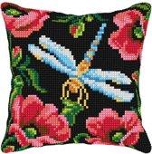 kruissteekkussen 99002 libelle met bloemen