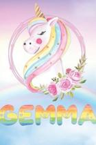 Gemma: Gemma's Unicorn Personal Custom Named Diary Planner Perpetual Calendar Notebook Journal 6x9 Personalized Customized Gi