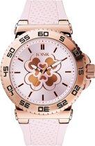 LOISIR horloge dames - roze rubber - 44 mm - roségoud RVS - klavertje vier