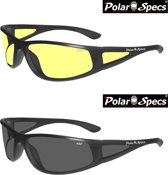 Combinatievoordeel Polar Specs® Polariserende Nachtbril + Polariserende Zonnebril Full Wrap PS9027 – Mat Black – Polarized – Medium – Unisex