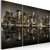 Schilderij - Gouden New York, 2 Maten, 3luik