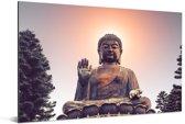 Zonsondergang achter het hoofd van de Tian Tan Boeddha Aluminium 60x40 cm - Foto print op Aluminium (metaal wanddecoratie)