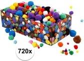 720x knutsel pompons assorti