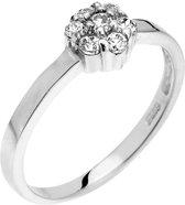 Montebello Ring Panicum  - Dames - Zilver Gehrodineerd - Zirkonia - ∅7 mm - maat 58 - 18.5