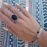 Black onyx infinity ring - maat 16.00 mm - maat 16.00 mm