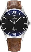 Yazole - heren horloge - bruin/ zwart  40 mm - I-deLuxe verpakking