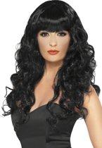 Zwarte zeemeerminnenpruik voor dames - Verkleedpruik - One size