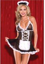 Body Pleasure - super strak - sexy lingerie - kamermeisje setje- schoonmaakster - sexy party outfit - tl85 - rollenspel - one size -  verpakt in gave cadeaubox