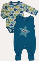 Minymo - newborn baby romper en body - blauw