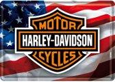 Harley Davidson USA Logo Metalen Postcard 10 x 14 cm.