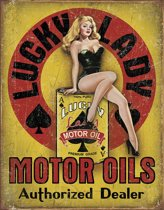 Signs-USA Lucky Lady Motor Oil - Retro Wandbord - Metaal - 40x30 cm