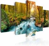 Schilderij Ochtend aan de rivier, blauw/groen, 5luik, 2 maten