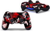 Army Camo / Rood Zwart - PS4 Controller Skins PlayStation Stickers