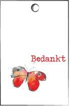Cadeaukaartjes Bedankt - minicard - kaartje met vlinder