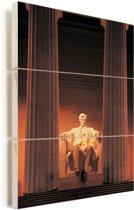 Oranje gekleurd Lincoln Memorial in Amerika Vurenhout met planken 20x30 cm - klein - Foto print op Hout (Wanddecoratie)
