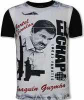 Local Fanatic El Chapo - Digital Rhinestone T-shirt - Zwart - Maten: S