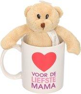 Voor de liefste mama cadeau mok / beker met knuffelbeer - Moederdag - 300 ml