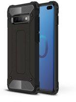 Samsung Galaxy S10 Plus silicone TPU hybride zwart hoesje case