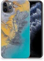 iPhone 11 Pro Max TPU Siliconen Hoesje Marmer Blauw Goud