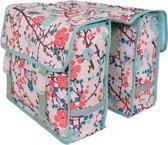 New Looxs Fiori Hanna Pink Fietstas - Dubbele Fietstas - Roze Fietstas Met Bloemenpatroon - Snelsluitsysteem - 30 Liter