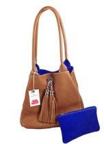Bags and Tulips omkeerbare schoudertas Famke leer/suede cognac/cobalt blauw