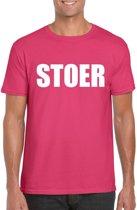 Stoer tekst t-shirt roze heren M