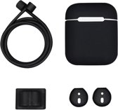 Luxe 4-in-1 delige hoes geschikt voor Airpods - Zwart