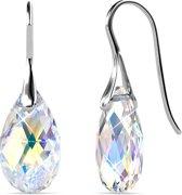Yolora dames oorbellen met Swarovski kristal hanger – Echt zilveren oorhangers, 925 sterling zilver – Druppel - YO-157