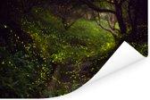 Grote groep gloeiwormen vliegen door een bos Poster 30x20 cm - klein - Foto print op Poster (wanddecoratie woonkamer / slaapkamer)