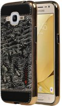 Wicked Narwal | M-Cases Croco Design backcover hoes voor Samsung Galaxy J2 2016 Zwart