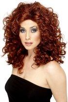 Filmster pruik met rood krullend haar