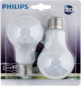 Philips LED lamp E27 dubbelpak 6W (40W) warmwit 470 lm mat