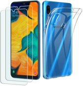 Samsung Galaxy A40 Hoesje Transparant TPU Siliconen Soft Case + 2X Tempered Glass Screenprotector