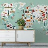 Fotobehang Travel the World 384x260 cm - topkwaliteit vliesbehang - Wereldkaart Kinderen Behang Kinderkamer