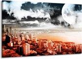 Canvas schilderij Modern   Rood, Grijs, Zwart   140x90cm 1Luik
