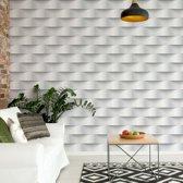 Fotobehang 3D Grey And White Pattern | VEXXXL - 416cm x 254cm | 130gr/m2 Vlies