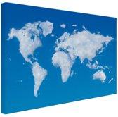 Wereldkaart wolken Canvas 30x20 cm - klein - Foto print op Canvas schilderij (Wanddecoratie woonkamer / slaapkamer)