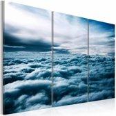 Schilderij In de wolken, blauw/wit, 3luik, 2 maten