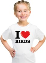 Wit I love birds t-shirt kinderen XS (110-116)
