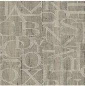 Vintage hout/letters beige behang (vliesbehang, beige)