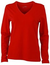 Rood dames v-hals shirt lange mouw L