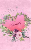 Kassidy: Personalized Small Journal - Gift Idea for Women & Girls (Pink Floral Heart Wreath)
