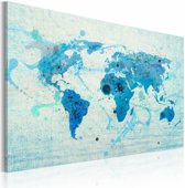 Schilderij - Landen en oceanen, Blauw, 2 Maten, 1luik