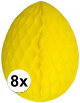 8 decoratie paaseieren geel 30 cm - Paasversiering / Paasdecoratie