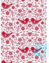 Cadeaupapier kerstmis: K691558 Folk Christmas Red - Toonbankrol breedte 70 cm