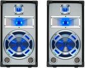 "Set van 2 Witte PA luidspreker 10"" / 25cm 400W met Disco LED verlichting"
