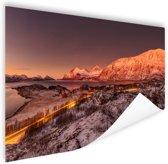 Arctische zonsondergang over Kvaloya Poster 150x75 cm - Foto print op Poster (wanddecoratie woonkamer / slaapkamer)