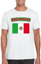 Mexico t-shirt met Mexicaanse vlag wit heren 2XL