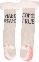 Grijze dames huissokken eenhoorns - maat 36-41 - antislip sokken