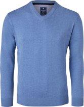 Redmond heren trui katoen - V-hals - blauw -  Maat XL